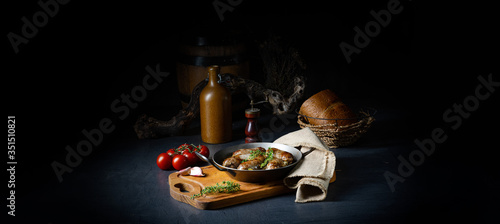 Fototapeta Homemade white sausage fried with onion and herbs obraz