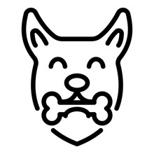 Dog With Bone Icon. Outline Do...