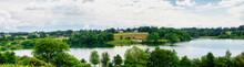 Village, Small Church, Lake An...