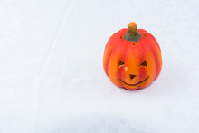 High Angle View Of Jack O Lantern Against White Background