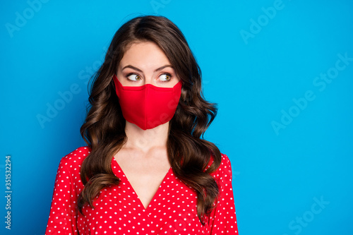 Fotomural Closeup photo of pretty curly lady closed half face big eyes look side empty spa