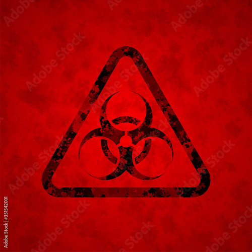 The black sign is a biological danger against a dirty red background Wallpaper Mural