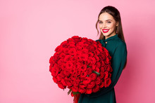 Photo Of Attractive Charming Fancy Lady Red Lips Hold Large Roses Bouquet Boyfriend Birthday Compliment Wear Green Dress Isolated Pastel Pink Color Background