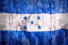 Full Frame Shot Of Grunge Honduras Flag On Wooden Wall