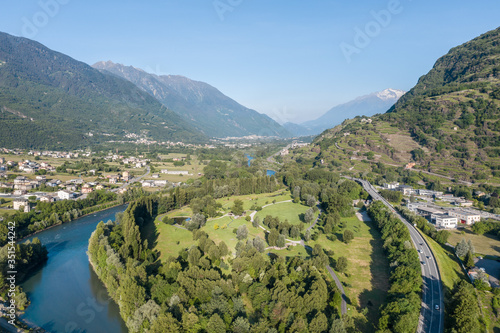 Bartesaghi park and Adda river, Valtellina Canvas Print