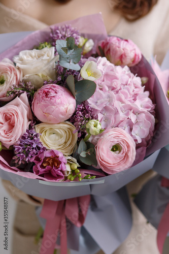Spring pastel bouquet with roses and hydrangea © E