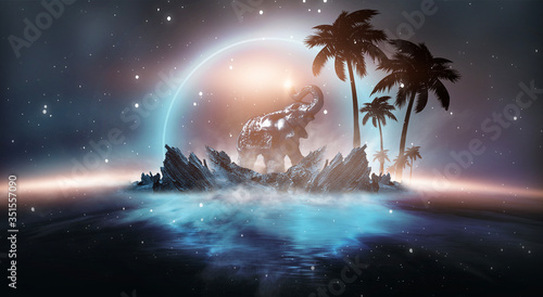 Obraz Futuristic night landscape with abstract landscape and island, moonlight, shine. Dark natural scene with reflection of light in the water, neon blue light. Dark neon circle background. - fototapety do salonu