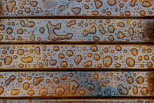 Background Of Water Drops On A Wooden Surface