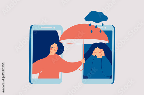 Obraz Girl comforts her sad friend over the phone. Woman consoles and cares about girl with psychological problems. Concept of support and aid for people under stress and depression over online services. - fototapety do salonu