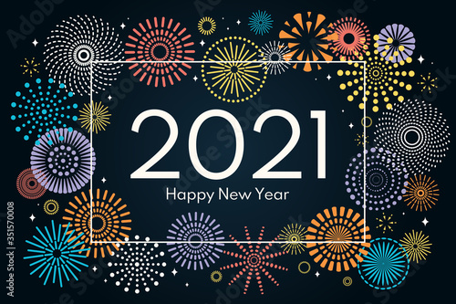 Fototapeta Vector illustration with bright colorful fireworks frame on a dark blue background, text 2021 Happy New Year. Flat style design. Concept for holiday celebration, greeting card, poster, banner, flyer. obraz