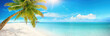 canvas print picture - Beautiful tropical beach with white sand, turquoise ocean on background blue sky with clouds on sunny summer day. Palm tree leaned over water. Perfect landscape for relaxing vacation, island Maldives.