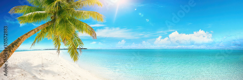 Beautiful tropical beach with white sand, turquoise ocean on background blue sky with clouds on sunny summer day. Palm tree leaned over water. Perfect landscape for relaxing vacation, island Maldives.