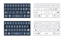 Phone Keyboard Mockup, Qwerty Keypad Alphabet Buttons And Numbers In Flat Style, Mobile Phone Tab Concept For Text App In Light And Dark Mode, Vector Illustration. Social Media Panel For Devices.