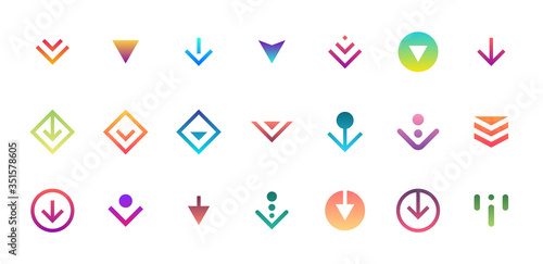Swipe top down download icon scroll colored pictogram set isolated for blogger ui ux design Fototapeta