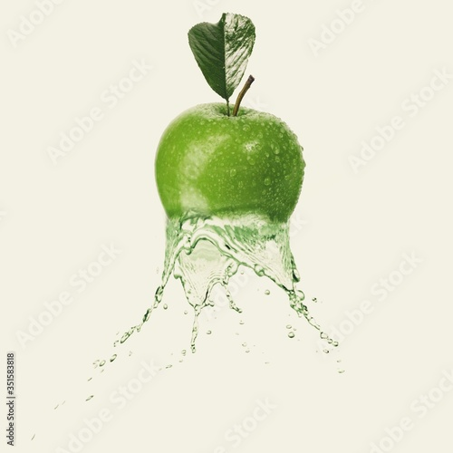 Leinwand Poster Digital Composite Image Of Granny Smith Apple And Water Against White Background