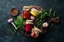Sauces In Glass Jars. Mustard, Tomato Sauce And Horseradish Sauce. Top View.