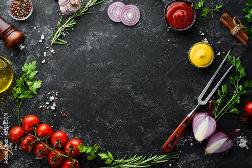 Fotografía Black stone cooking background