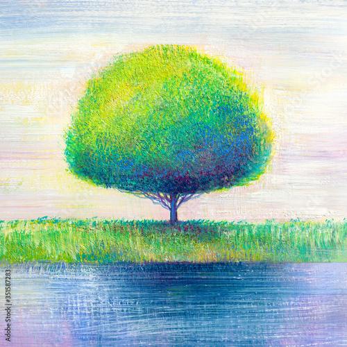 Fototapeta Lonely tree by the river. Original oil painting on canvas.  Modern art. obraz na płótnie