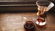 High Angle View Of Black Coffee In Jar On Table