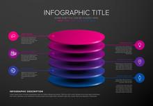 Vector Dark Infographic Round Layers Desks Template