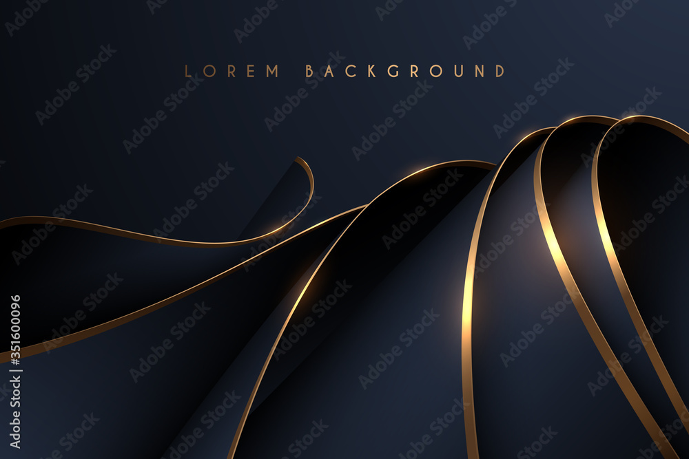 Fototapeta Black and gold textile layers background