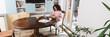 Leinwandbild Motiv horizontal image of african american freelancer working from home