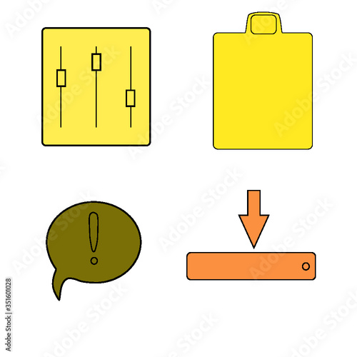 vector illustration of a set of icons with arrows - 351601028