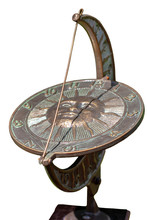 Antique Sundial Isolated On Wh...