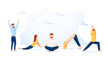 Vector Illustration, Concept Of Meditation During Working Hours, Break, Health Benefits Of The Body, Mind And Emotions.