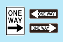 USA ONE WAY Sign , Vector Illu...