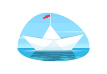 Paper Boat With Red Flag Semi Flat Vector Illustration. Origami Water Vessel. Calm Sailing On Seascape. Handmade Maritime Transport Voyage. Toy Ship 2D Cartoon Object For Commercial Use
