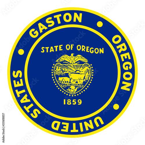 Round Gaston Oregon United States Flag Clipart 2 Poster Mural XXL