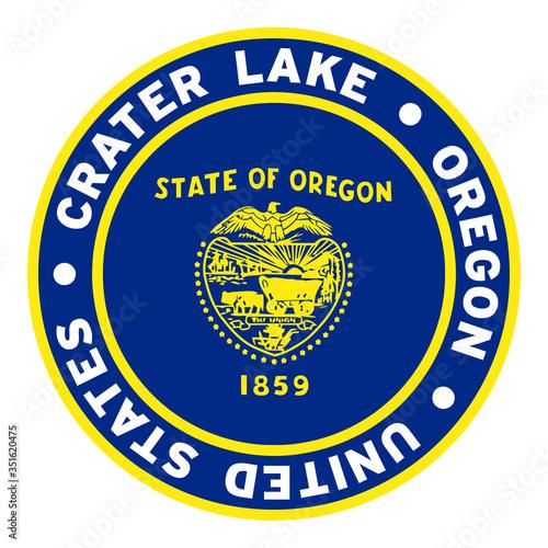 Photo Round Crater Lake Oregon United States Flag Clipart 3