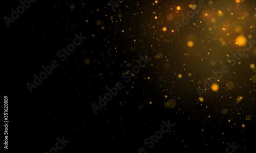 Fototapeta Festive golden luminous background with colorful lights bokeh. Light abstract glowing bokeh lights. Magic concept. Christmas concept. obraz na płótnie