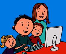 Szczęśliwa Rodzina Przed Komputerem - Kolorowy Rysunek, Każdy Kolor Na Osobnej Warstwie (łatwa Zmiana Koloru Ilustracji)