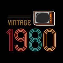 1980 Vector Vintage Retro Design Background
