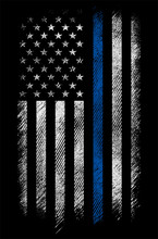 Grunge Usa Police Flag With Th...