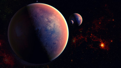 3D illustration of an space planet universe