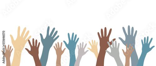 Hands up pale color silhouettes raised up vector set banner Obraz na płótnie