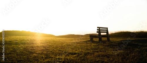 Obraz na plátně Bench On Grassy Field Against Clear Sky