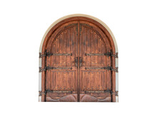 Vintage Wooden Gate Isolated On A White Background.