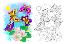 Colorful And Black And White Page For Kids Coloring Book. Illustration Of Butterflies Flying Between Flowers. Printable Worksheet For Children School Textbook. Online Education. Flat Cartoon Vector.