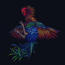 Vector Color Rooster Bird Illu...