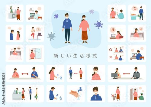 【A4】 【New normal】新しい生活様式を伝えるイラスト。真正面を避ける、手を洗う、ソーシャルディスタンス、旅行・移動を控える、マスクを着用する。 Wallpaper Mural