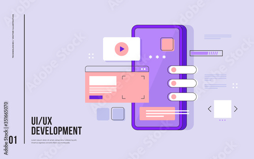 Fototapeta Mobile UI/UX development design concept. Smartphone with interface elements. Digital industry. Innovation and technologies. Mobile app. Vector flat illustration for web page, banner, presentation. obraz
