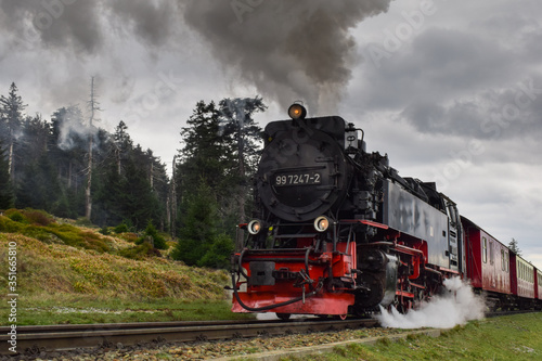 Stampa su Tela antiguo tren de vapor en un bosque de Alemania