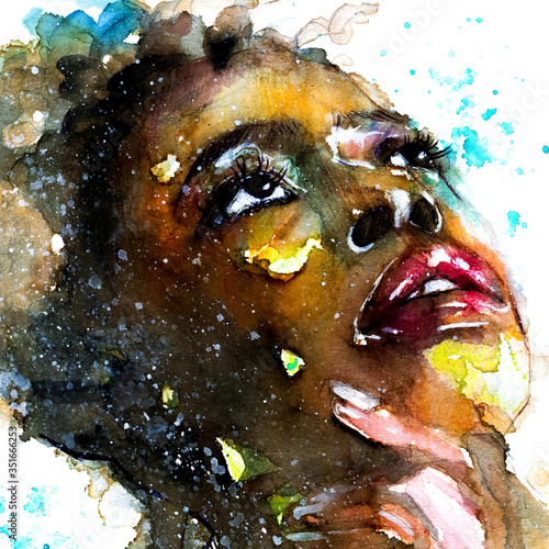 Photo Abstract watercolor portrait of a woman of color afro american black beautiful g