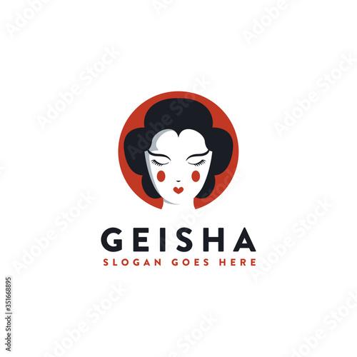 Fotomural Minimalist Japanese Geisha Logo Icon