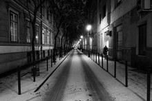 Illuminated City During Winter At Night