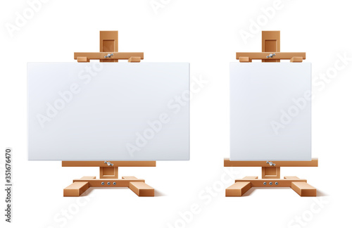 Fotomural Vector realistic wooden easel blank canvas set